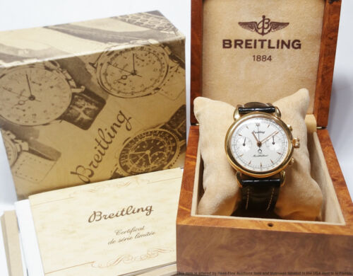 Scarce 18k Gold Breitling Montbrillant C11 Mens Chronograph Watch Box Papers - watch picture 1