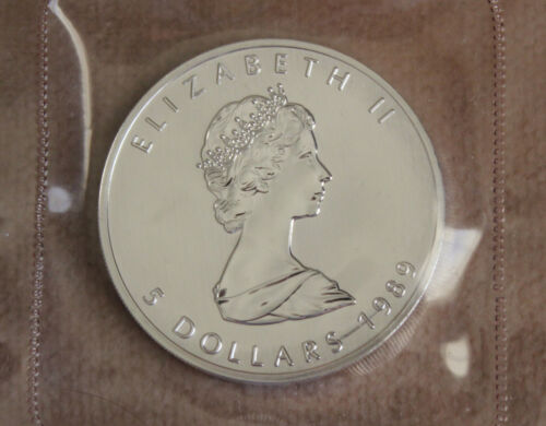 ROYAL CANADIAN MINT 1989 $5 SILVER MAPLE LEAF COIN MINT SEALED -SECOND YEAR-