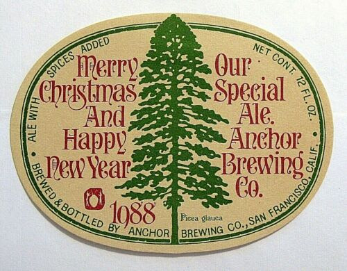 Anchor Brewing Co 1988 MERRY CHRISTMAS beer label CA 12oz