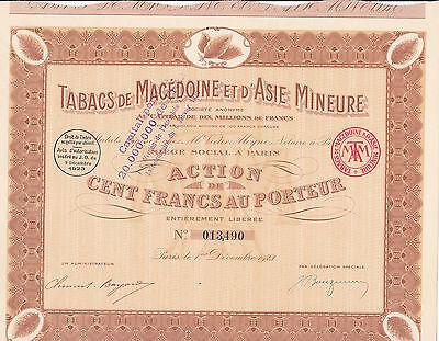 Tabacs de Macedonie et D'Asie Mineure-Action v. 1923