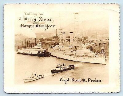 EARLY WARSHIP / BATTLESHIP & STEAMER CHRISTMAS CARD PHOTO - CAPTAIN KARL A PREHN ()