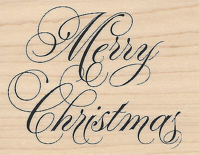 Fancy Merry Christmas Wood Mounted Rubber Stamp IMPRESSION OBSESSION E8774 New ()