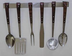 Cooking Utensils - Retro - Stainless Steel + Hanging Rack Elderslie Camden Area Preview
