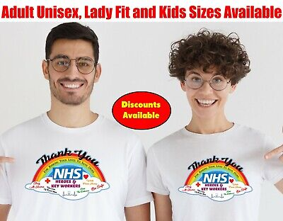 Thank You NHS & Key Workers Nurse Doctor Rainbow Stay Safe T Shirt-401