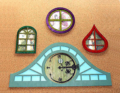 2 X Fairy-Nymph-Pixie Home-House 3D ROUND Window Kit 2 sizes MDF or Ply 3Pc