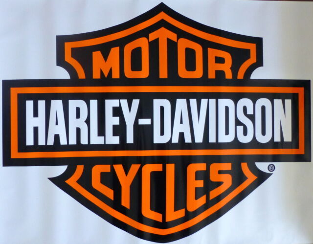 2 harley davidson orange bar & shield decal sticker about 4x3 | ebay