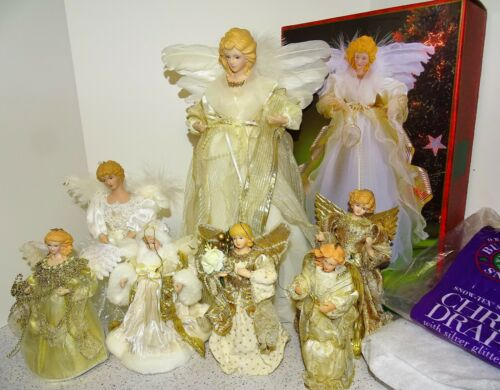 Lot of 7 Table or Tree Top Christmas Angels Porcelain & Resin Heads Hands Adler+