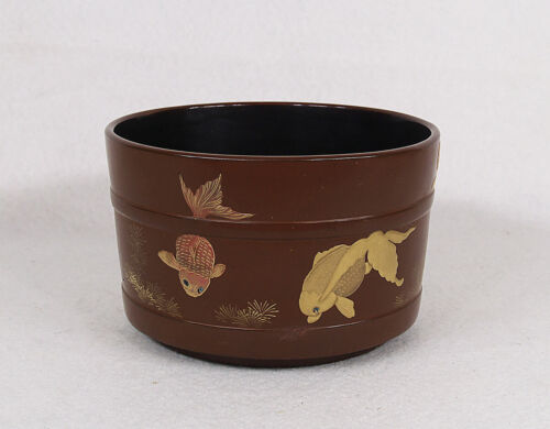 Antique Japanese Hand Painted Goldfish Lacquered Wood Bowl 19th century Meiji