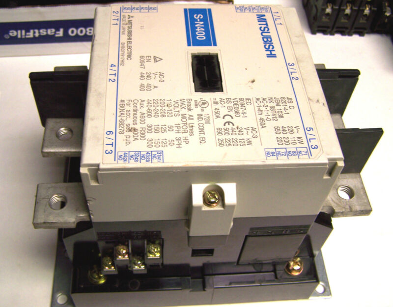 * Mitsubishi Contactor 3 Phase,110-600V, 260-350V Coil..Cat# S-N400 (Chip) ZC-94