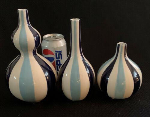 Jonathan Adler Happy Home Blue Stripes 3 Vases