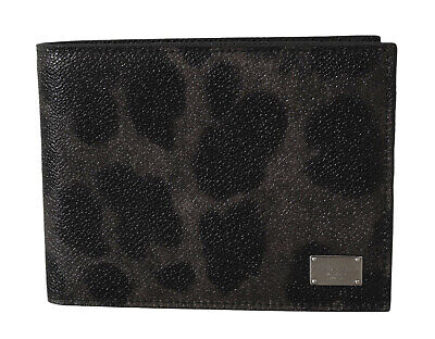 DOLCE & GABBANA Wallet Gray Leopard Leather Print Cardholder Bifold Mens Money
