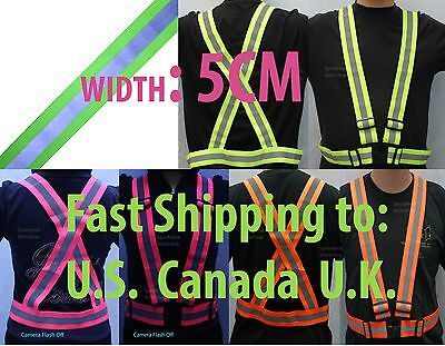 Reflective Safety Harness Vest High Visibility Stripe Cycling Walking Belt