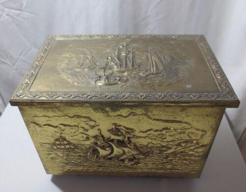 Antique Vintage Brass Coal Box Ash Kindling Wood Metal  inside Ship motif