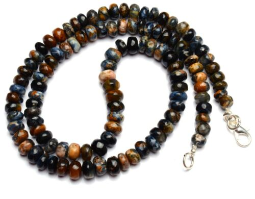 """Natural Gem Namibia Pietersite 6 to 7MM Size Smooth Rondelle Beads Necklace 19"""""""
