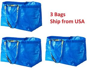 3 IKEA SHOPPING BAG NEW LARGE REUSABLE - LAUNDRY TOTE GROCERY STORAGE - FRAKTA
