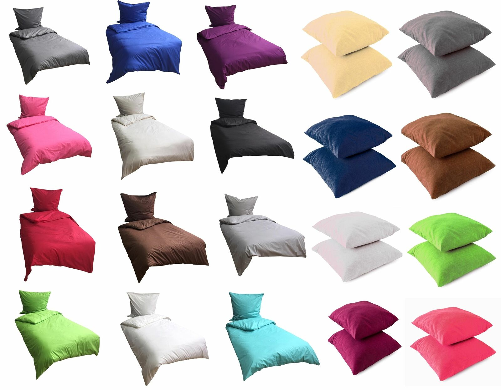 Bettwäsche Baumwolle Kissenbezug Bettwäsche Renforce UNI Einfarbig Garnitur Set