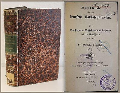 Harnisch Handbuch für das deutsche Volksschulwesen 1839 Pädagogik Schulsystem xz