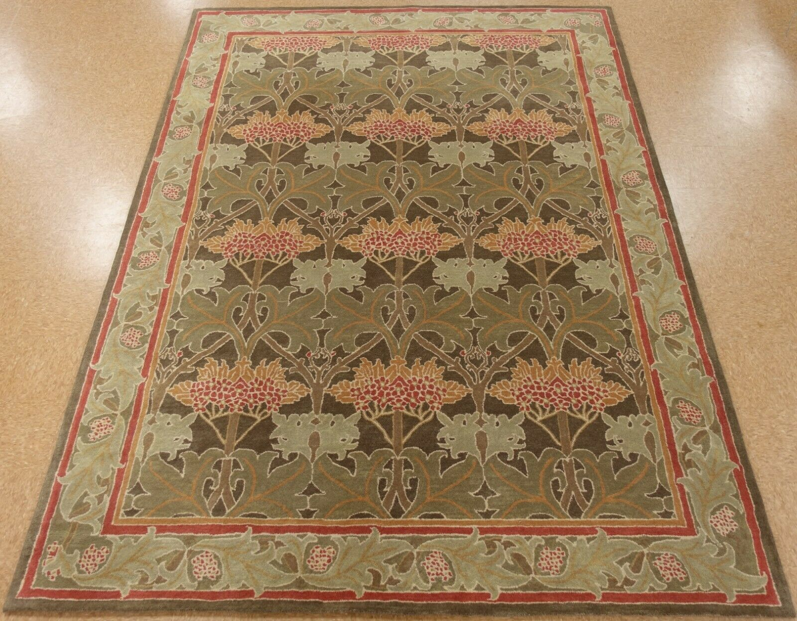 8 X 10 Pottery Barn Cecil Rug Green New Hand Tufted Wool Carpet