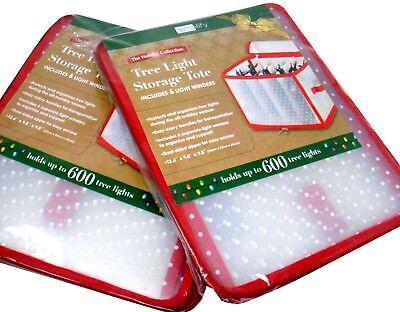 Set of 2 Plastic Tree Light Storage Totes w/ Winders 12