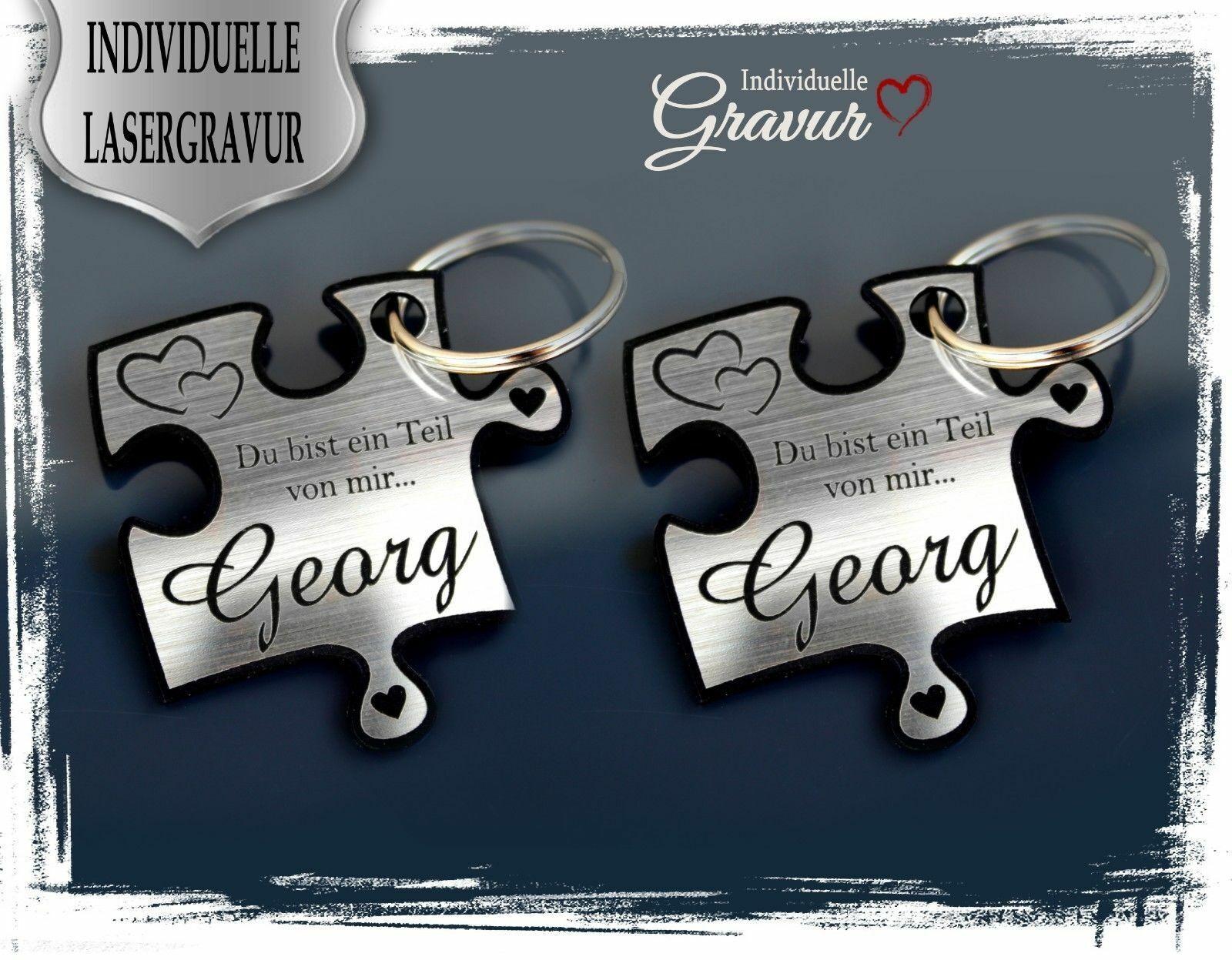 2 Schlüsselanhänger mit Gravur - Puzzle SILBER - Geschenk Hochzeit Valentinstag