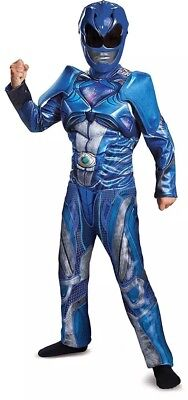 Child Halloween Costume Mask Blue Power Ranger Rangers Muscle Boy Kid Sz L 10-12 ()