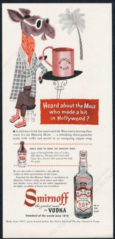 1950 Moscow Mule drink recipe copper mug art Smirnoff Vodka vintage print ad