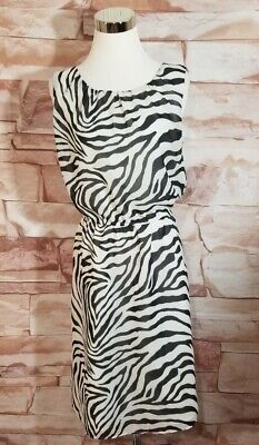 Banana Republic Size 8 Zebra Print Dress Elastic Waist Sleeveless Black Lined