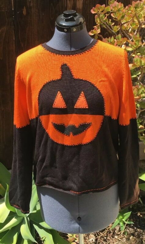 VTG Halloween Designer Jack o Lantern Sweater Rare Orig BARRIE CHASE COLLECTION