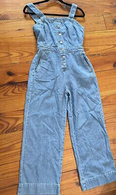 Vintage Overalls & Jumpsuits H&M Denim Overalls Wide Leg Jumpsuit Cropped Jean Size XS $29.99 AT vintagedancer.com