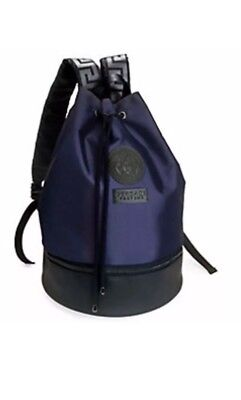 Versace Backpack Blue/Black Rucksack Weekend Gym Sack Medusa with Dust Bag