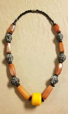 VTG ATQ African Trade Bead Necklace Agate Copal Clay African Trade Bead Necklace