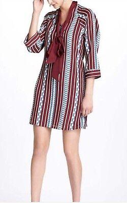 144.  Madchen Anthropologie Mod Shift Shirt Dress Scarf Neck Tie Sz 4 EUC (Mädchen Shift Kleider)