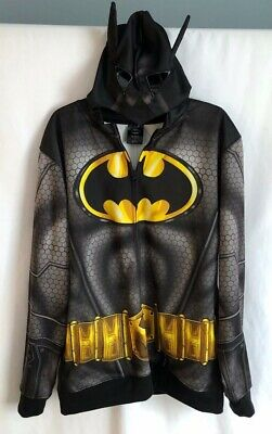Batman Hoodie Mask (Batman men XL full zip long sleeve mask costume Cosplay hoodie)