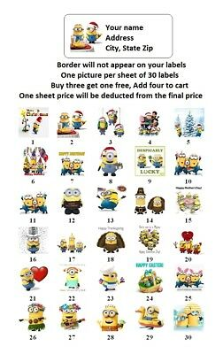 30 Personalized Return Address Labels Minions Holiday Buy 3 Get 1 Free Mm1