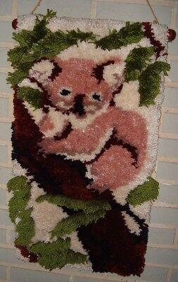 "Hooked Rug Art Koala Bear 28"" X 15"" Handmade Completed Hanging Art"