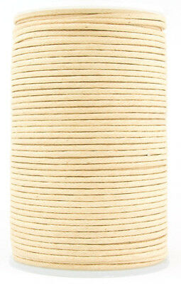 Natural Round Waxed Cotton Cord 1mm 100 meters