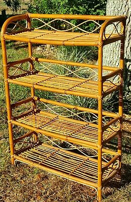 Vintage Mid Century BENT Bamboo & Rattan  BOOKCASE Shelf Tiki Style