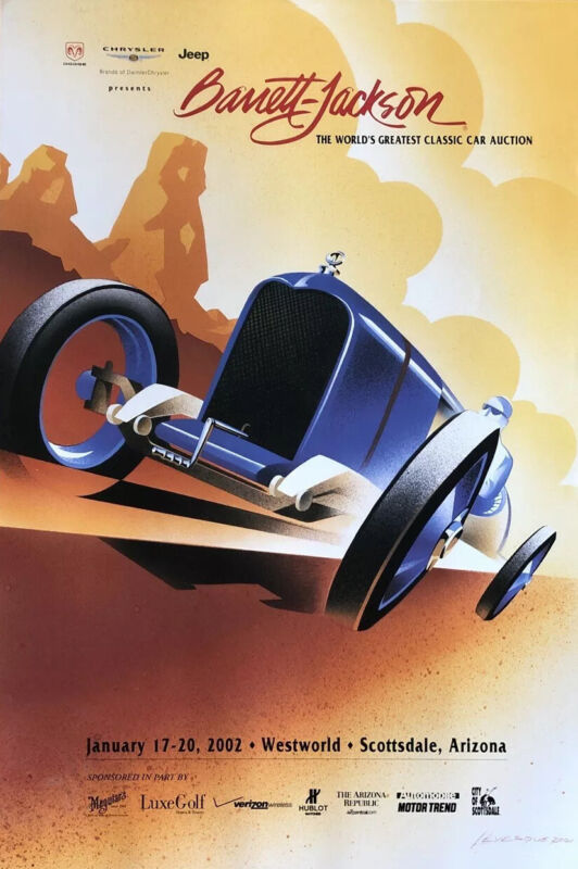 "Barrett Jackson 2002 Classic Car Auction Poster 24""X36"""
