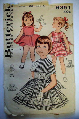 60s Dresses For Girls (60's Girl's full gathered skirt with sash for bow dress pattern 9351 size)