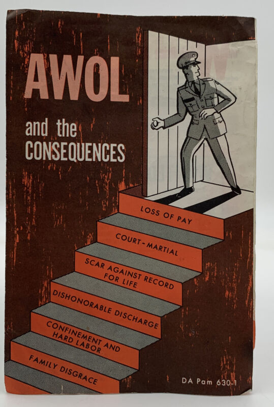 Vintage 1967 Vietnam War Era Pamphlet AWOL And The Consequences DA PAM 630-1 404