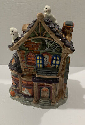 Vintage Mrs. Fields Halloween Haunted House Cookie Jar Ghosts Pumpkins Skeleton