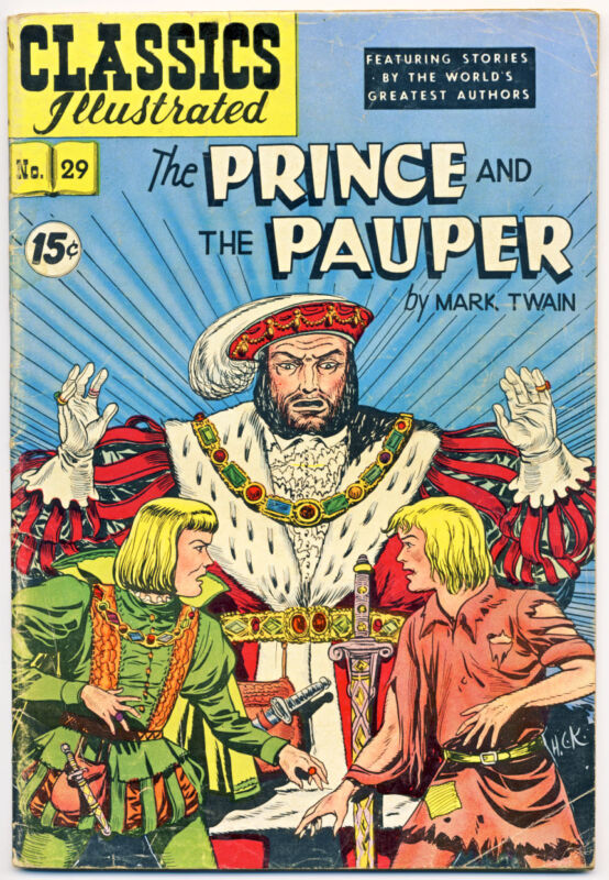 CLASSICS ILLUSTRATED #29 (HRN 114) VG, THE PRINCE AND THE PAUPER, Comics