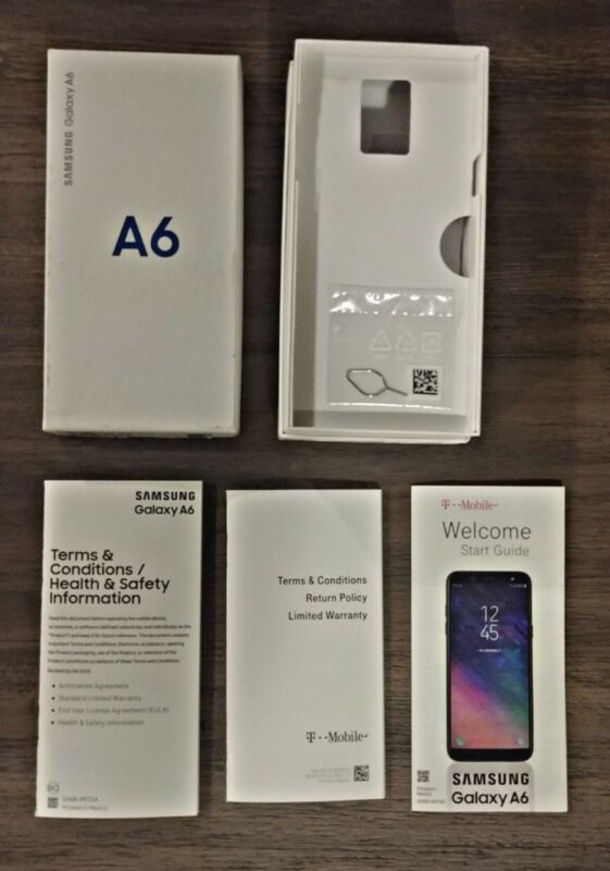 Samsung Galaxy A6 Black T-Mobile **Box & Manuals Only** (No Phone)
