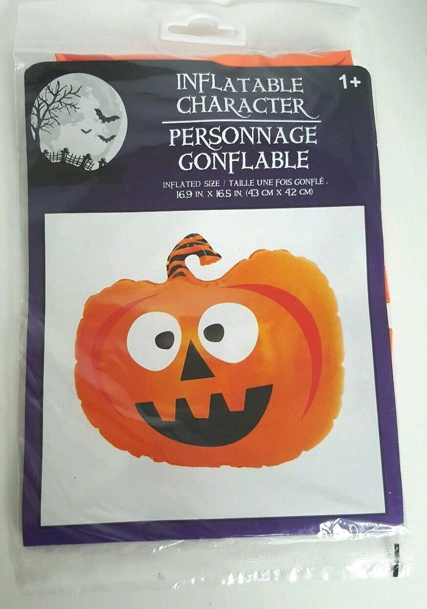 """Halloween Inflatable Character Pumpkin Orange 16.9 """" X 16.5 """" Jack O Lantern"""