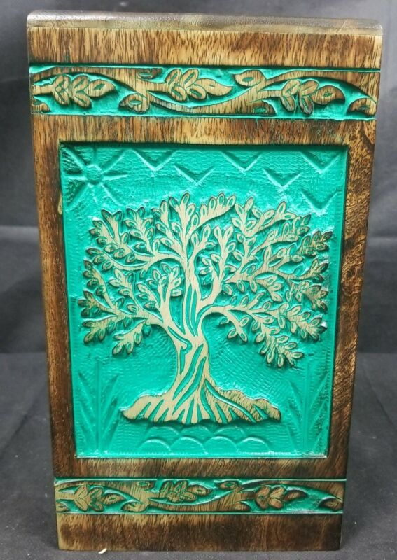 New INTAJ Tree of life Engraved Rosewood Cremation Urn for Human Ashes Medium