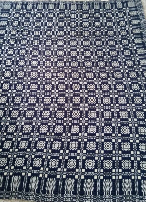 19th Century traditional welsh two panel wool coverlet. Early American.