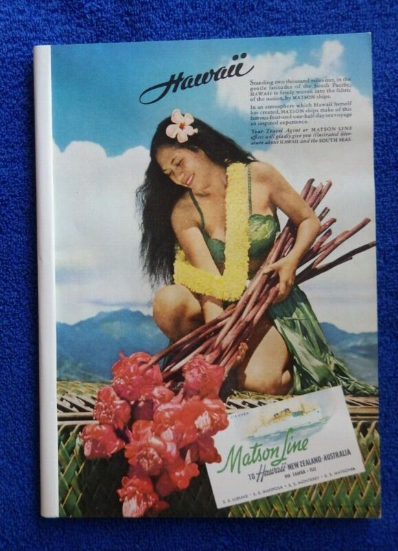 Vintage 1941 Hawaiian Matson Line Ships Lurline Hawaii Travel Advertisement Oahu