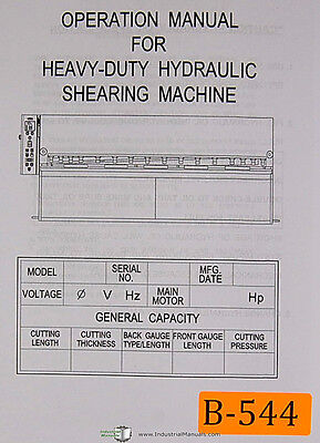 Birmingham H Series Kgy-1440 1460 Hydraulic Shear Operations And Parts Manual