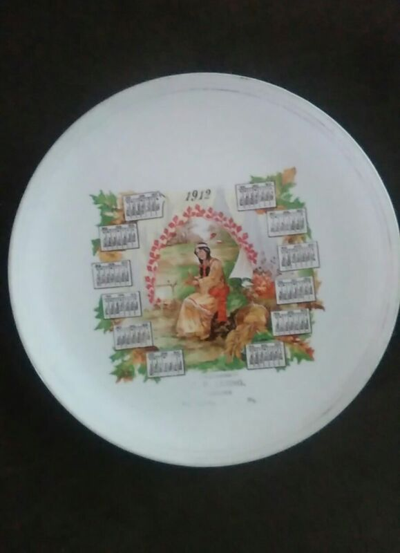 1912 Souvenir Plate Indian Maiden ~ CE LEIDIG Highspire Pa