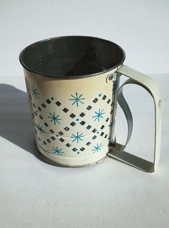 VINTAGE ANDROCK FLOUR SIFTER MID CENTURY MODERN STARBURST MADE IN USA